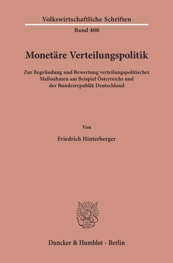Cover: Monetäre Verteilungspolitik