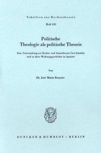 Cover: Politische Theologie als politische Theorie