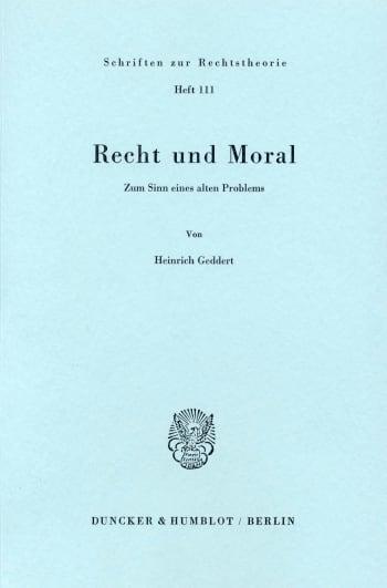 Cover: Recht und Moral
