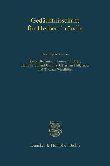 Cover: Gedächtnisschrift für Herbert Tröndle