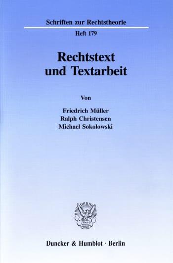 Cover: Rechtstext und Textarbeit