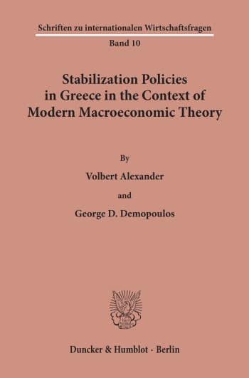 Cover: Stabilization Policies in Greece in the Context of Modern Macroeconomic Theory