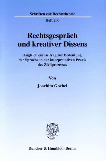 Cover: Rechtsgespräch und kreativer Dissens