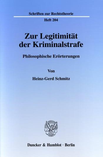 Cover: Zur Legitimität der Kriminalstrafe