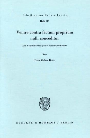 Cover: Venire contra factum proprium nulli conceditur