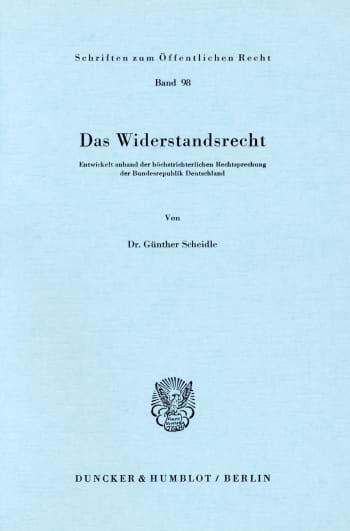 Cover: Das Widerstandsrecht