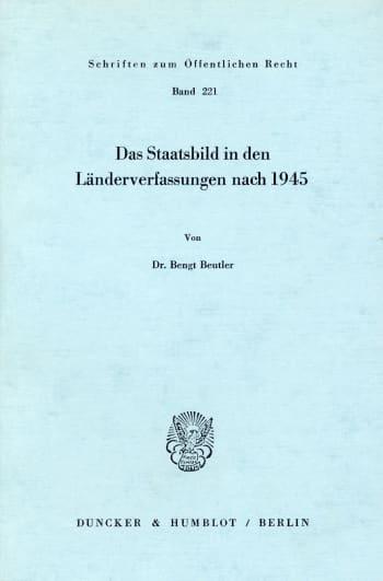 Cover: Das Staatsbild in den Länderverfassungen nach 1945