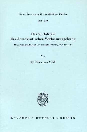 Cover: Das Verfahren der demokratischen Verfassunggebung