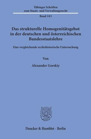 Cover: Tübinger Schriften zum Staats- und Verwaltungsrecht (TSSV)
