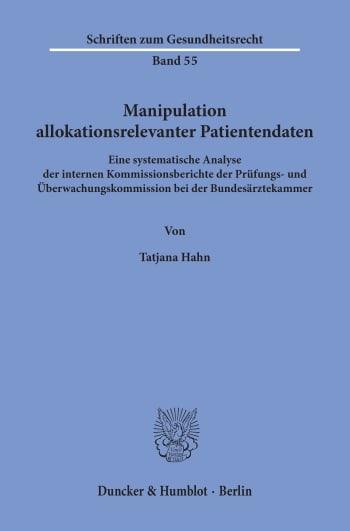 Cover: Manipulation allokationsrelevanter Patientendaten