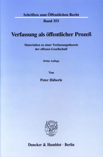 Cover: Verfassung als öffentlicher Prozeß