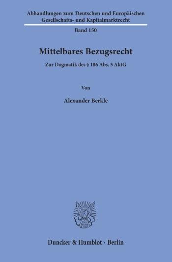 Cover: Mittelbares Bezugsrecht