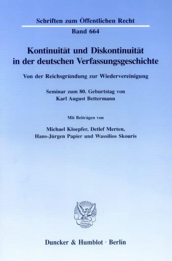 Cover: Kontinuität und Diskontinuität in der deutschen Verfassungsgeschichte