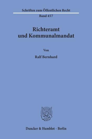 Cover: Richteramt und Kommunalmandat
