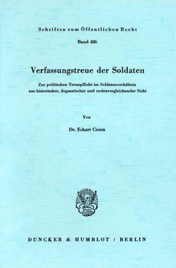 Cover: Verfassungstreue der Soldaten