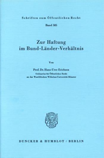 Cover: Zur Haftung im Bund-Länder-Verhältnis