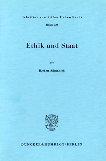Cover: Ethik und Staat