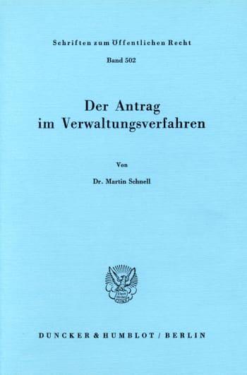 Cover: Der Antrag im Verwaltungsverfahren