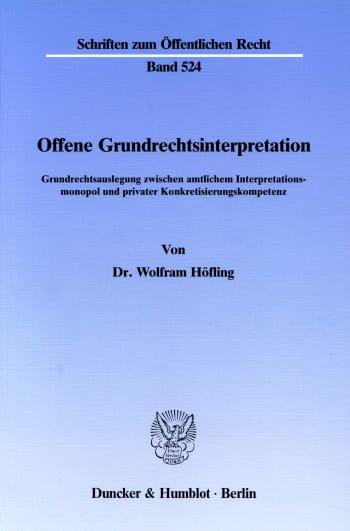 Cover: Offene Grundrechtsinterpretation
