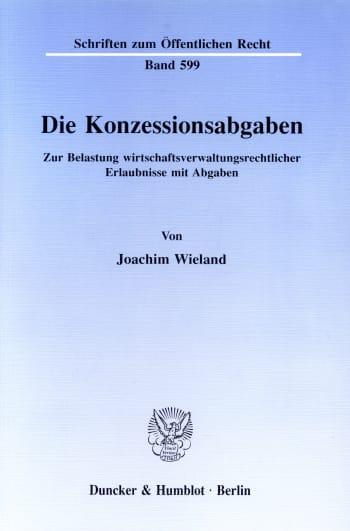 Cover: Die Konzessionsabgaben
