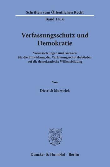 Cover: Verfassungsschutz und Demokratie