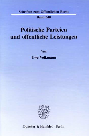 Cover: Politische Parteien und öffentliche Leistungen