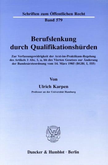Cover: Berufslenkung durch Qualifikationshürden