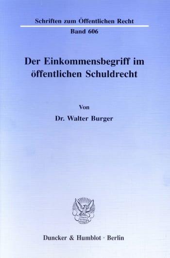 Cover: Der Einkommensbegriff im öffentlichen Schuldrecht