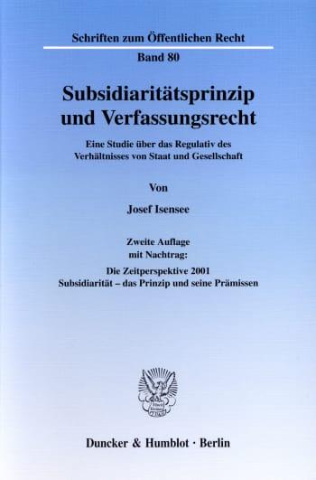 Cover: Subsidiaritätsprinzip und Verfassungsrecht