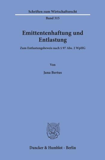 Cover: Emittentenhaftung und Entlastung