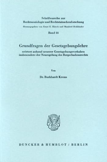 Cover: Grundfragen der Gesetzgebungslehre,