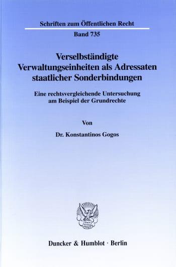 Cover: Verselbständigte Verwaltungseinheiten als Adressaten staatlicher Sonderbindungen