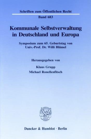 Cover: Kommunale Selbstverwaltung in Deutschland und Europa