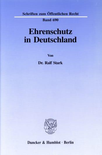 Cover: Ehrenschutz in Deutschland