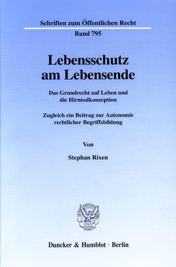 Cover: Lebensschutz am Lebensende