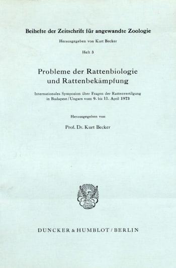 Cover: Zeitschrift für angewandte Zoologie. Beihefte (BH ZFAZ)