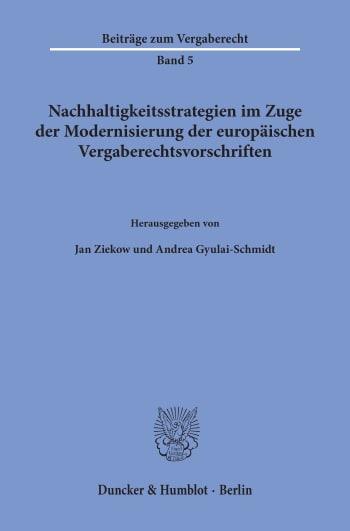 Cover: Nachhaltigkeitsstrategien im Zuge der Modernisierung der europäischen Vergaberechtsvorschriften