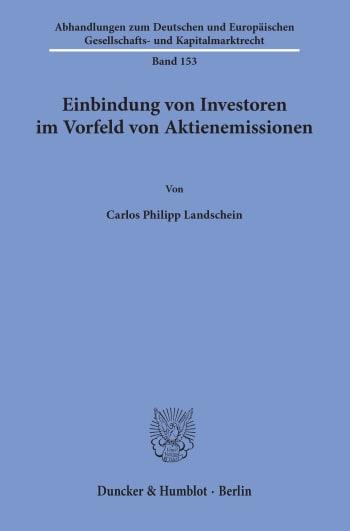 Cover: Einbindung von Investoren im Vorfeld von Aktienemissionen