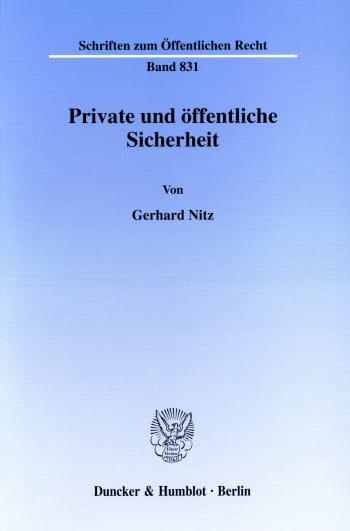 Cover: Private und öffentliche Sicherheit