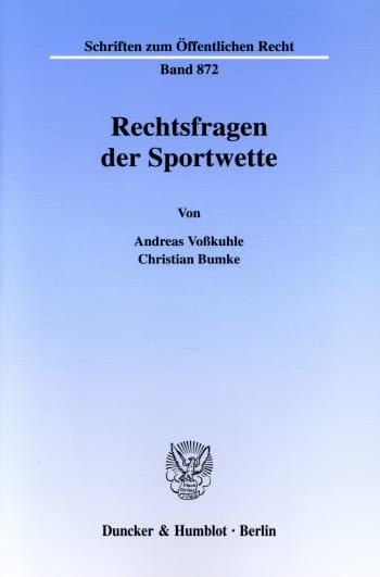 Cover: Rechtsfragen der Sportwette