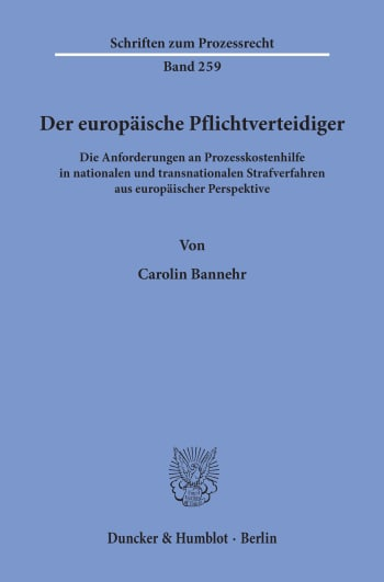 Cover: Der europäische Pflichtverteidiger