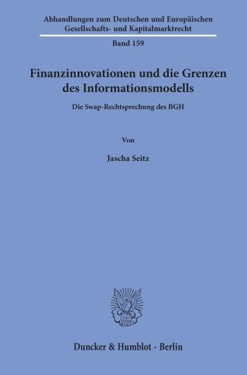Cover: Finanzinnovationen und die Grenzen des Informationsmodells
