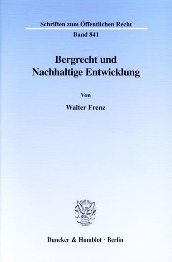 Cover: Bergrecht und Nachhaltige Entwicklung
