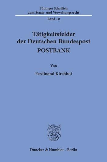 Cover: Tätigkeitsfelder der Deutschen Bundespost POSTBANK