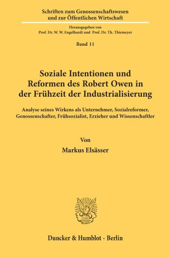 Cover: Soziale Intentionen und Reformen des Robert Owen in der Frühzeit der Industrialisierung