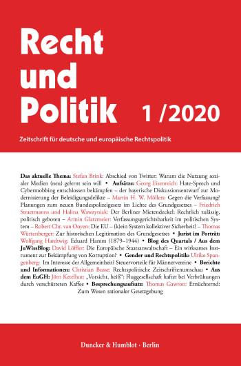 Cover: Recht und Politik (RuP)
