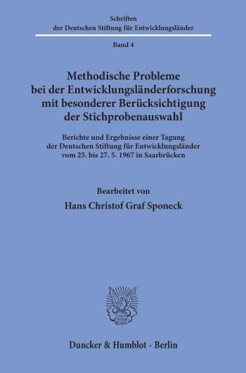 Cover: Schriften der Deutschen Stiftung für Entwicklungsländer (DSE)