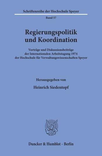 Cover: Regierungspolitik und Koordination