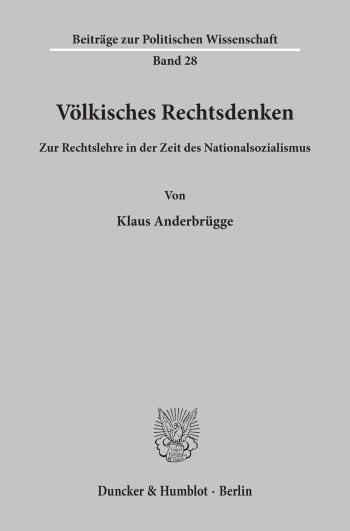 Cover: Völkisches Rechtsdenken
