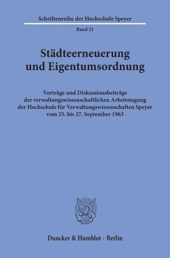 Cover: Städteerneuerung und Eigentumsordnung